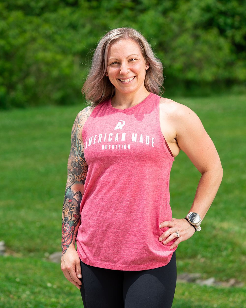 American Made Nutrition APPAREL XS Ladies Racerback Tank // Heather Pink