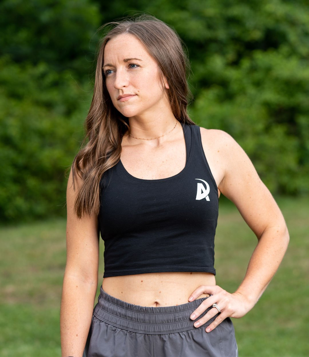 American Made Nutrition APPAREL XS/S Crop Top Tank // Black
