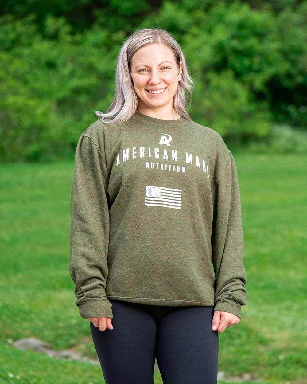 American Made Nutrition CREW NECKS S Crewneck Pullover // Army Green