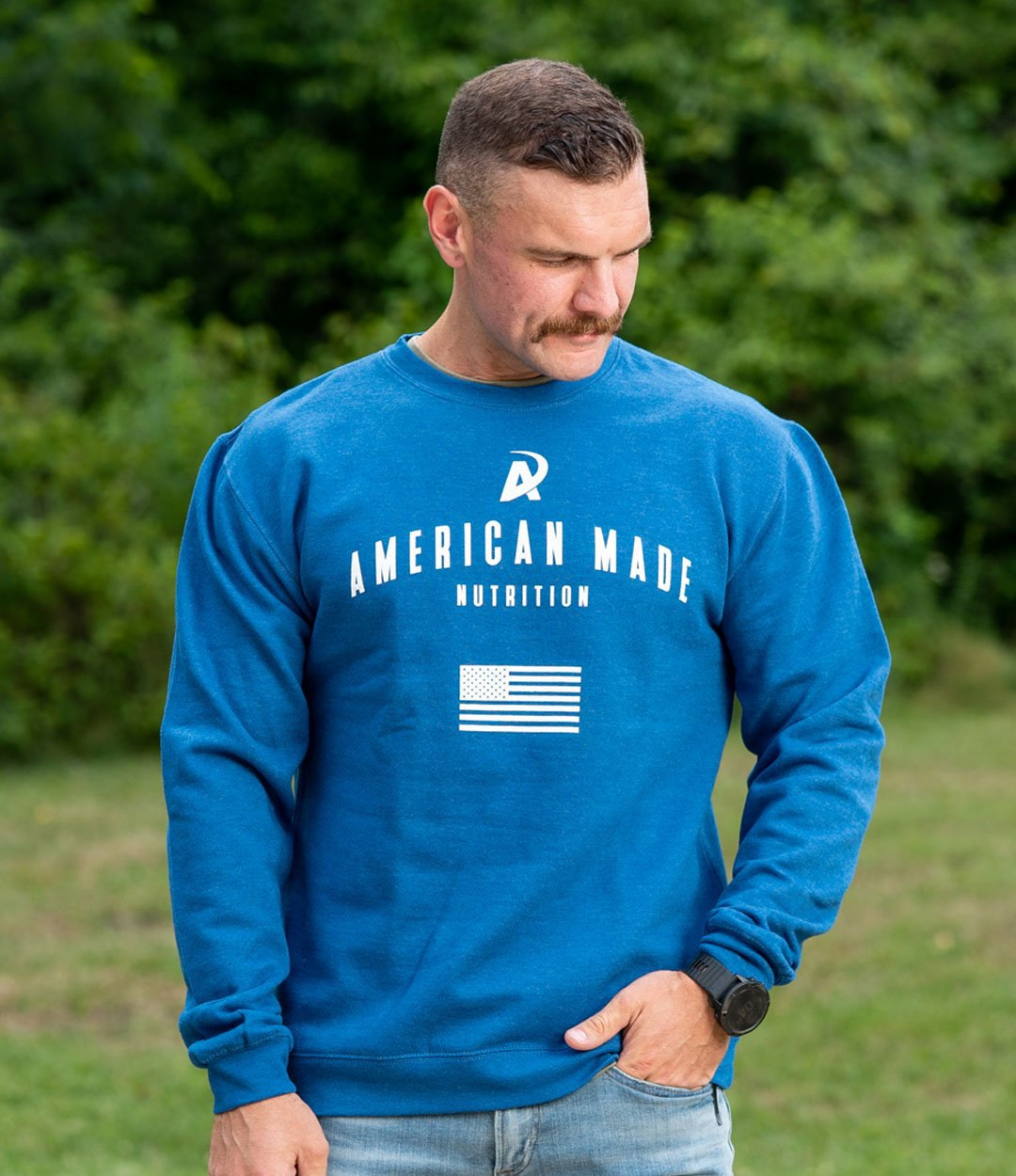 American Made Nutrition CREW NECKS S Crewneck Pullover // Royal Blue