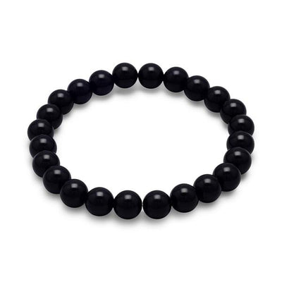 Aisha 8mm Black Onyx Stretchy Boho Stackable Bracelet