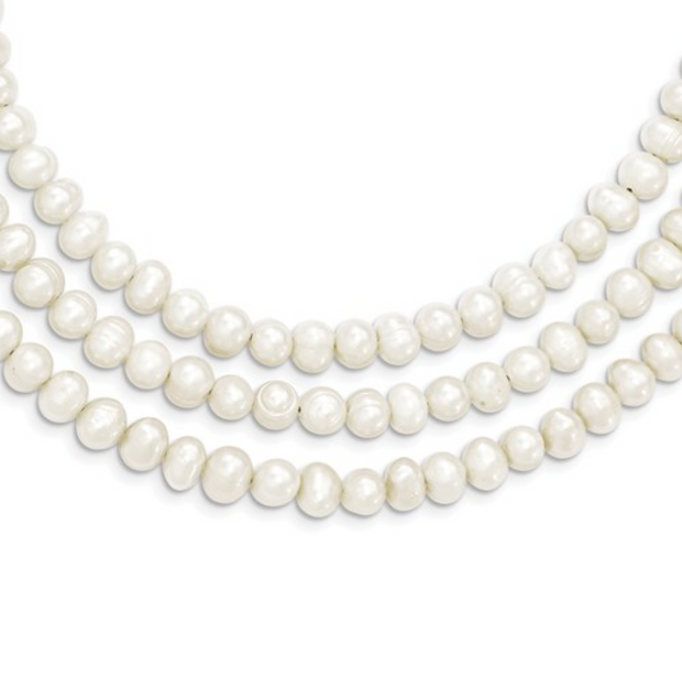 Audrey Vintage-Inspired Triple Strand Pearl Necklace Breakfast at Tiffany's Accessory