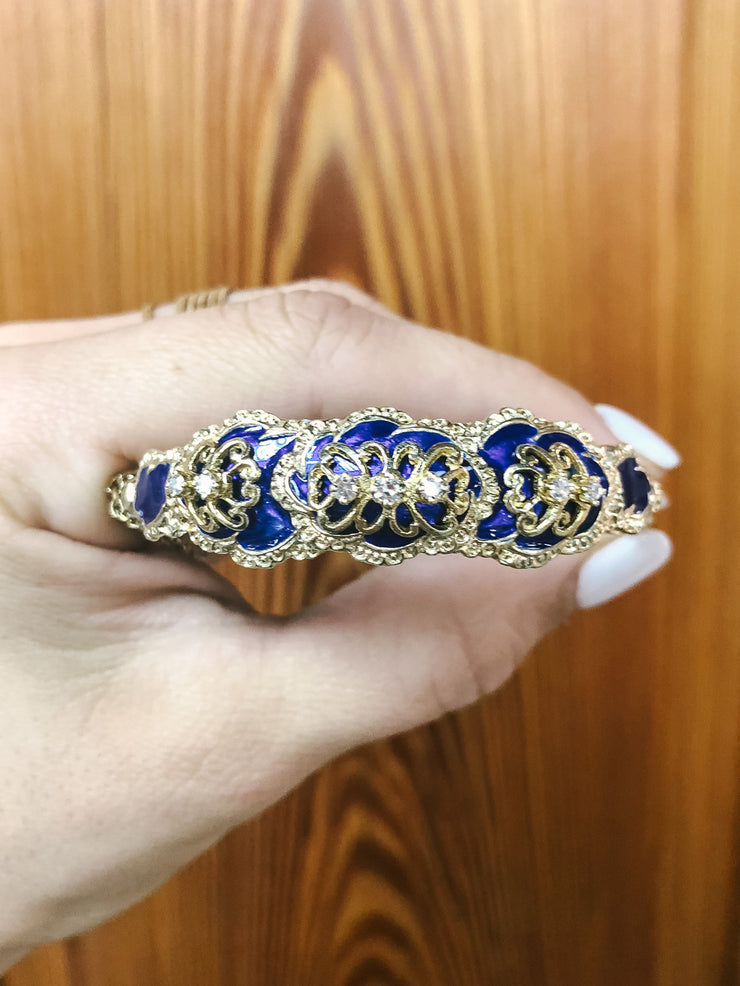 Augustine Belle Epoque Antique Diamond & Blue Enamel 14kt Gold Hinge Bangle Bracelet