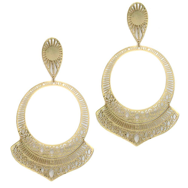Avani 18kt Gold Plated Ornate Bohemian Large Hoops Statement Hypoallergenic Earrings Artifact Adventure Adornment Boho Jewelry