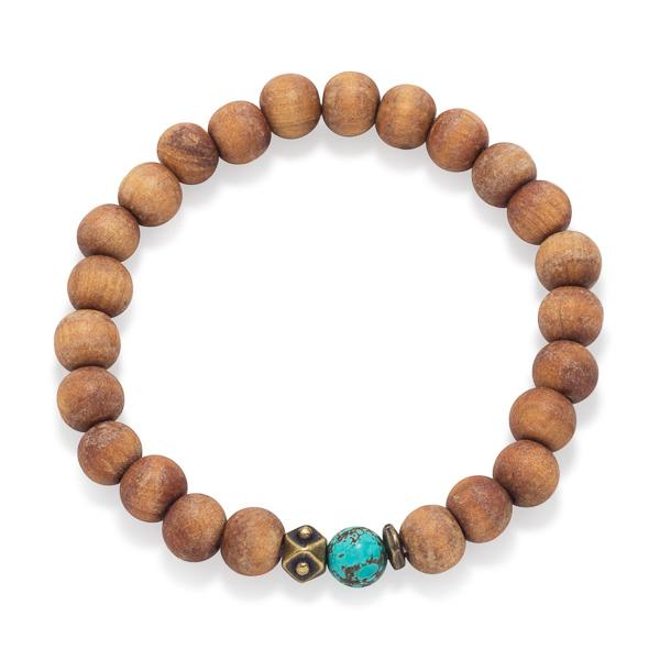 Claire Wood Bead Stretch Boho Turquoise Blue Magnesite Brass Stackable Bracelet