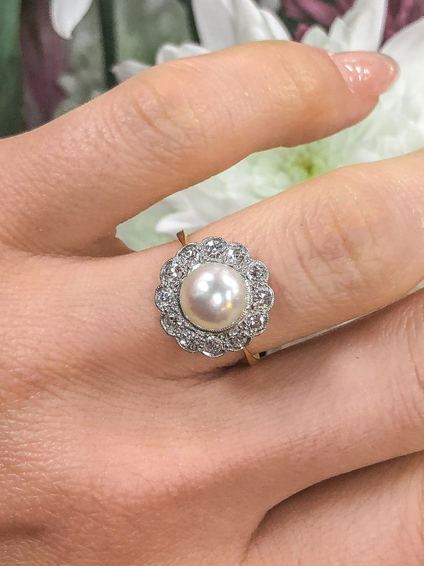 Dianna La Belle Époque Pearl and Diamond Floral Cluster 14kt Gold Ring