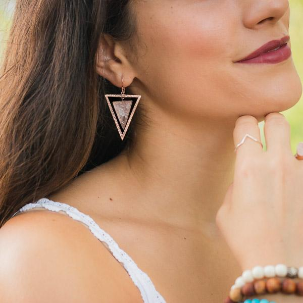 Elizabeth 14kt Rose Gold Plated Sterling Silver Rose Quartz Triangle Geometric Bohemian Dangle Earrings