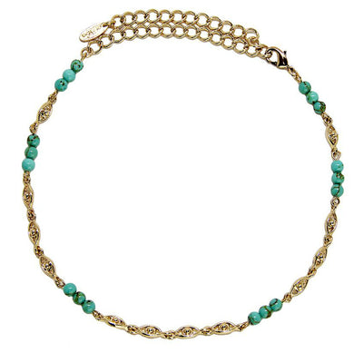 Emily Turquoise 18kt Gold Third Eye Choker Bohemian Necklace