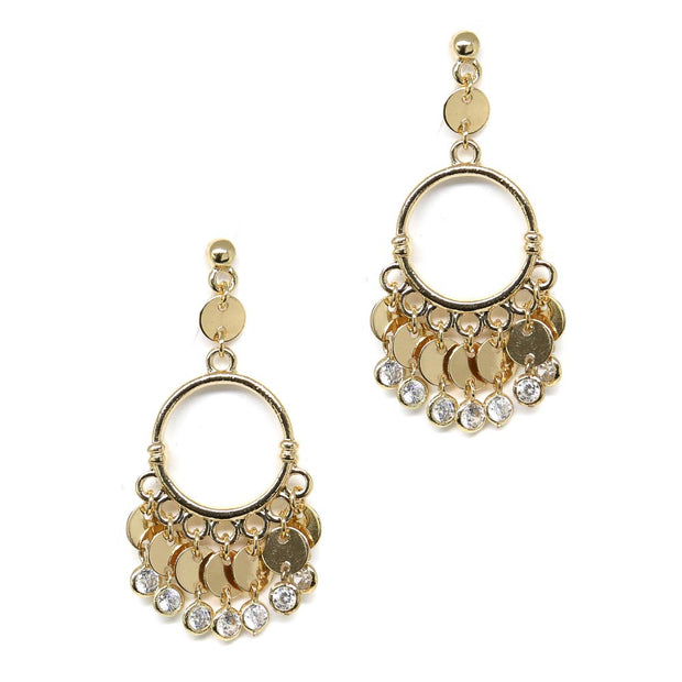 "Esmeralda Gypsy Chandelier Earrings Statement 2"" Inch Hoops with Golden Disks Bezeled Glass 18kt Gold Plated Bohemian Jewelry"