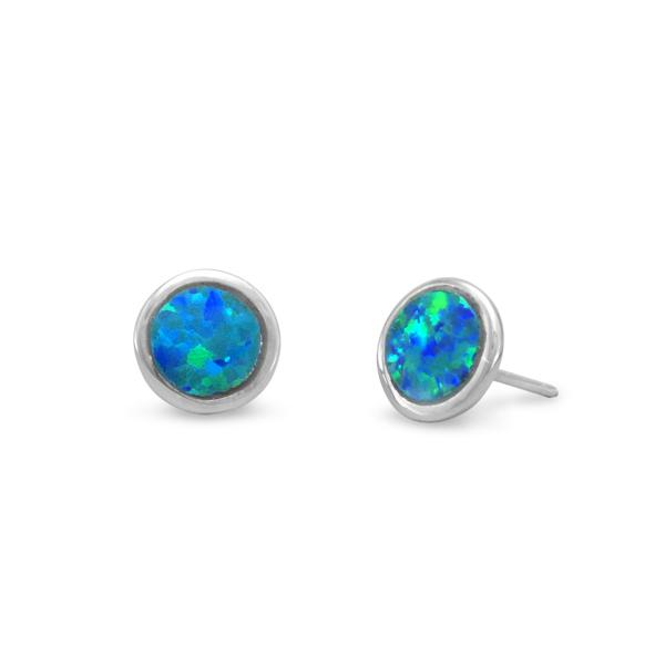 Flora 7mm Sterling Silver Blue Simulated Opal Hippie Stud Earrings