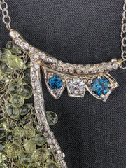 Designer One of a kind Louisiana Mossy Oak Tree Jewelry 14kt White Gold, Diamond, Citrine, and Blue Topaz Mossy Branch Necklace