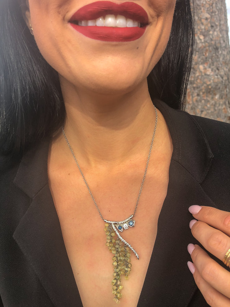 Helen Estate 14kt White Gold, Diamond, Citrine, and Blue Topaz Mossy Branch Necklace