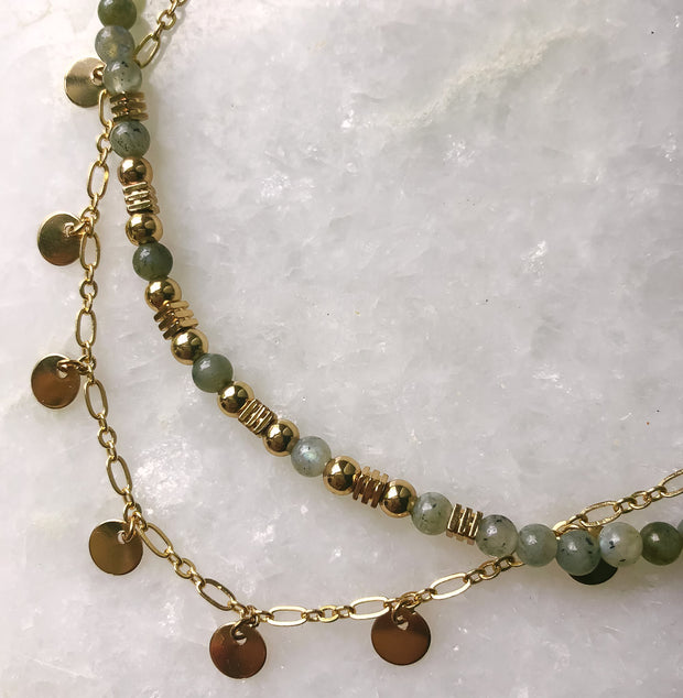Jasmine Labradorite and Gold Discs Double Choker Bohemian Gypsy Layered Necklace