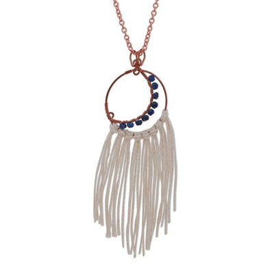 Joya Copper Blue Lapis Lazuli Crescent Moon Dreamcatcher Necklace Natural Cotton Tassel