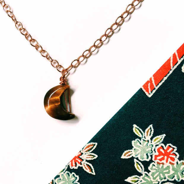 Kyra Handmade Small Tiger's Eye Crescent Moon Necklace Rose Brass Minimal Magic