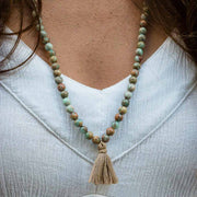Leila Blue Teal Turquoise Aqua Terra Jasper Mala Necklace with Cream Beige Tan Tassel Meditation Arm Wrap Bracelet