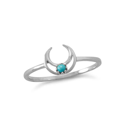 Lila Minimal Bohemian Sterling Silver Turquoise Open Crescent Moon Ring