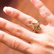 Luna Yellow Gold Double Triangle Minimal Tribal Ring