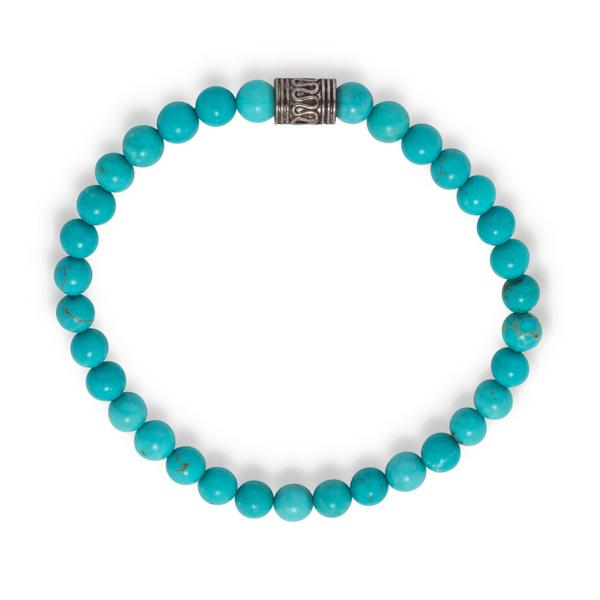 Lynnae Turquoise Blue Magnesite Bead Silver Stretch Stackable Boho Bracelet