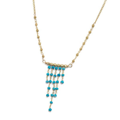 Mamie Gold Pyrite Blue Turquoise Chandelier Bohemian Necklace