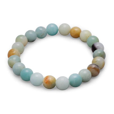 Masako PolyChromatic MultiColor Blue Amazonite Bead Stackable Bracelet