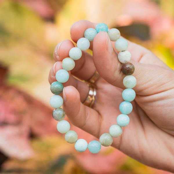 Girl Holding Masako PolyChromatic MultiColor Blue Amazonite Bead Stackable Bracelet