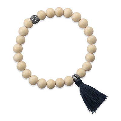 Mazarene Mala Style White Wood Bead Prayer Deep Blue Tassel Bracelet Stretchy Stackable Bohemian Beads