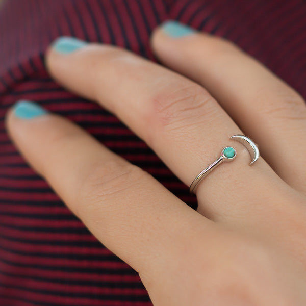 Girl Wearing Megan Bohemian Open Adjustable Sterling Silver Crescent Moon Turquoise Ring
