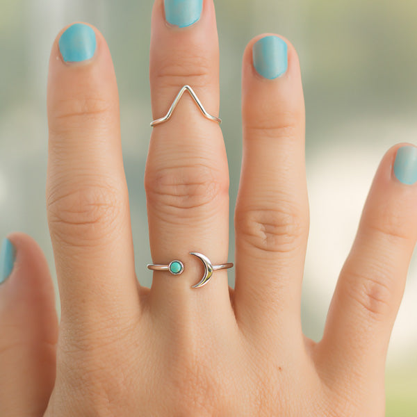Megan Bohemian Open Adjustable Sterling Silver Crescent Moon Turquoise Rings