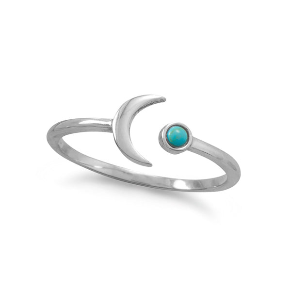 Megan Bohemian Open Adjustable Sterling Silver Crescent Moon Turquoise Ring