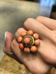Meredith Vintage Cabochon Coral 18kt Gold Cocktail Ring