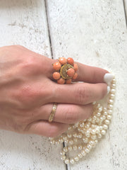 MidCentury Vintage Cabochon Coral 18kt Gold Cocktail Ring