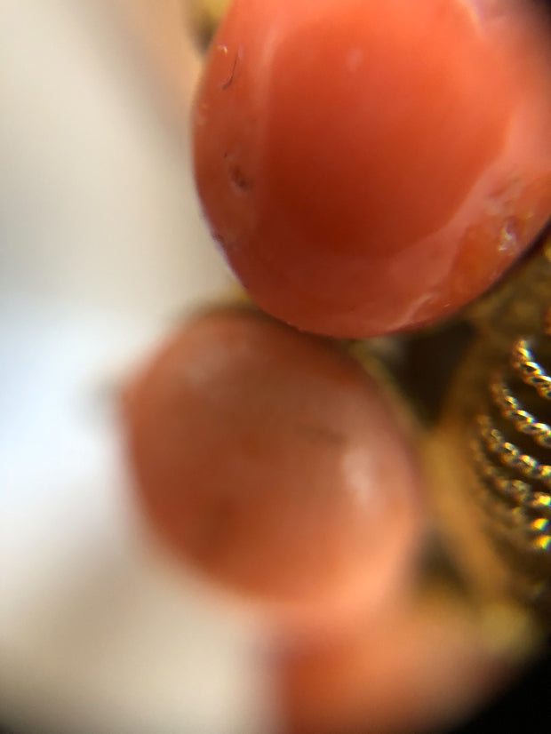 Vintage Cabochon Coral 18kt Gold Cocktail Ring