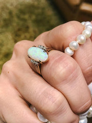 Michelle Vintage 1950s Oval Opal 14kt Yellow Gold Ring with Diamonds
