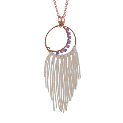 Misbah Handmade Copper Purple Amethyst Crescent Moon Dream Catcher Necklace