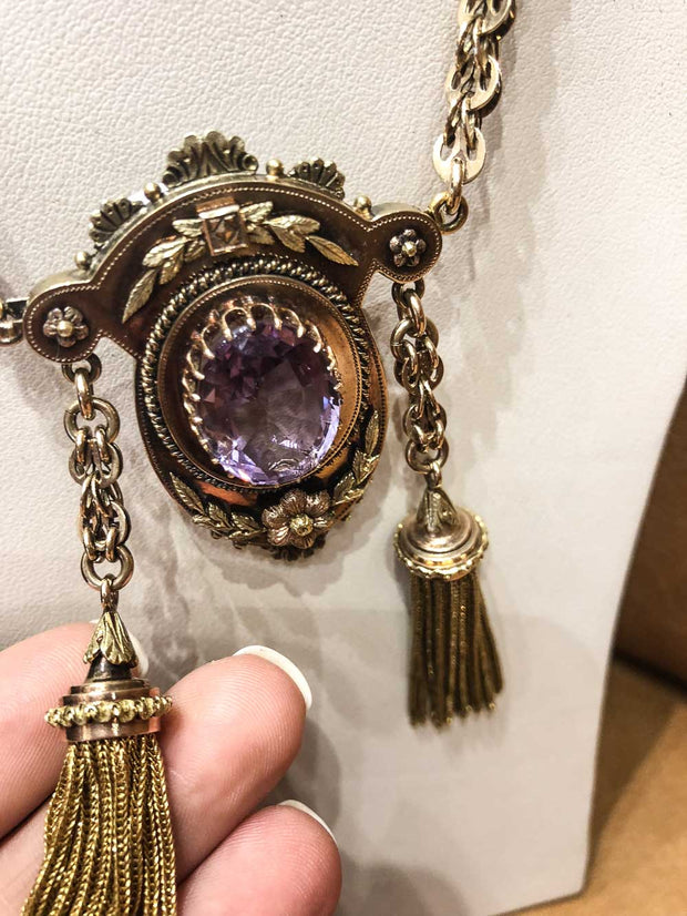 14kt Gold Large Edwardian Amethyst Necklace with Tassels