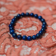Nelu Dark Blue 8mm Lapis Lazuli Bead Stretch Bohemian Stackable Bracelet