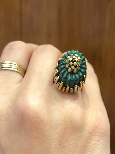 Paloma Large Malachite 14kt Gold Vintage Ring
