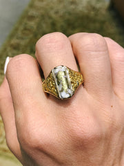 Pamela Vintage Mens Womens Unisex Rectangle Rounded Gold Quartz Stone Set in 14kt 24kt Gold Nugget Ring Artifact Adornment One of a Kind Estate Jewelry