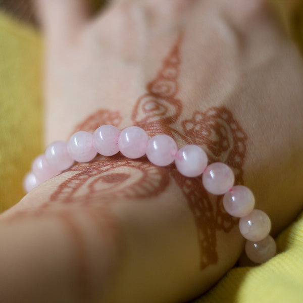 Primrose Light Baby Pink Rose Quartz 8mm Bead Boho Stackable Bracelet