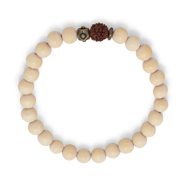 Rachel White Wood Wooden Beads Rudrashka Seed Stretch Stackable Boho Bracelet