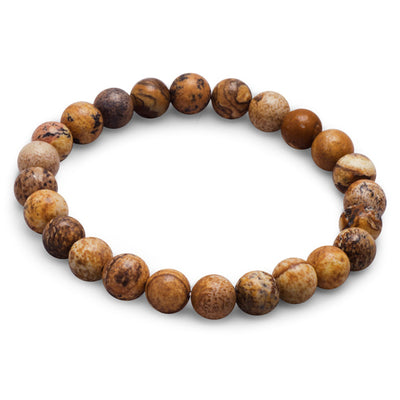 Riley Brown 8.5mm Picture Jasper Bead Stretch Stackable Bohemian Bracelet