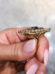Rosalie Art Nouveau 14kt Gold Ring with a Sapphire, Rubies and Diamonds