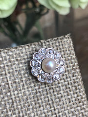 Samantha La Belle Époque Pearl and Diamond Floral Cluster 18kt White Gold Earrings