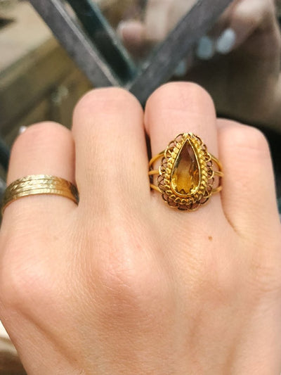 Sasha Vintage Citrine Scalloped Pear 22kt Yellow Gold Ring Artifact Adornment One of a Kind Estate Jewelry