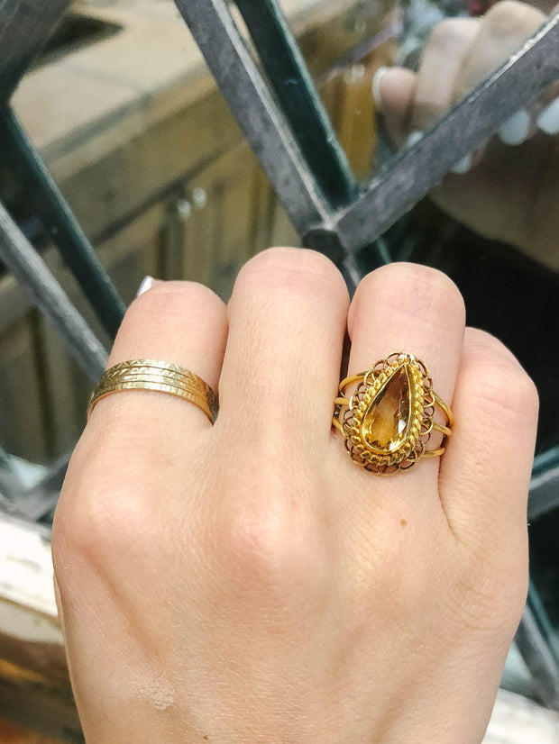 Sasha Vintage Citrine Scalloped Pear 22kt Yellow Gold Ring