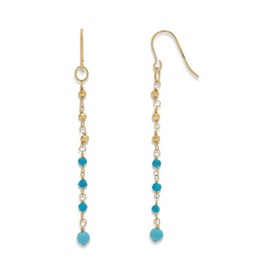Serena Boho Gold Turquoise Dangle Drop Earrings