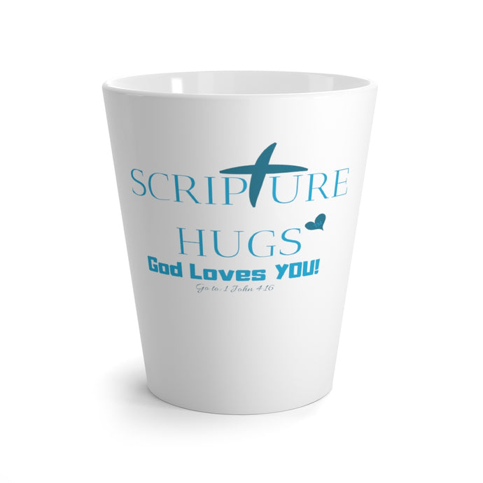 Scripture Hugs, God Loves You! Latte mug in Aqua