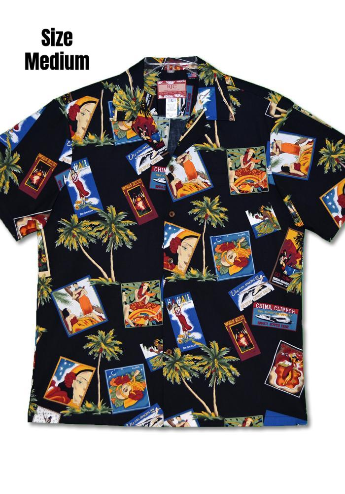 """Final Sale"" Hawaiian Postcards Authentic Tiki Hawaiian Aloha Shirt - Black"