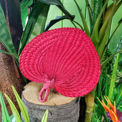 Large Wicker Palm Leaf Fan in Natural